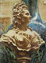 JAMES CARROLL BECKWITH (AMERICAN, 1852-1917) SCULPTURE AFTER PAJOU Oil on board: 13 3/4 x 10 1/4 in.