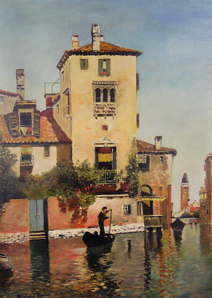 ALFRED EVERITT ORR (AMERICAN, 1886-) VENICE Oil on canvas: 30 1/4 x 22 in.