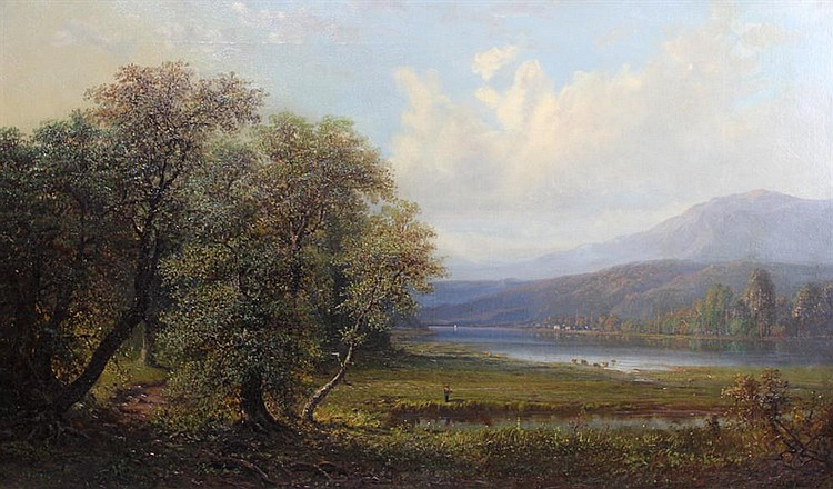 HENRY BOESE (AMERICAN, 1824-1863) LANDSCAPE WITH COWS GRAZING Oil on canvas: 23 x 38 1/2 in.