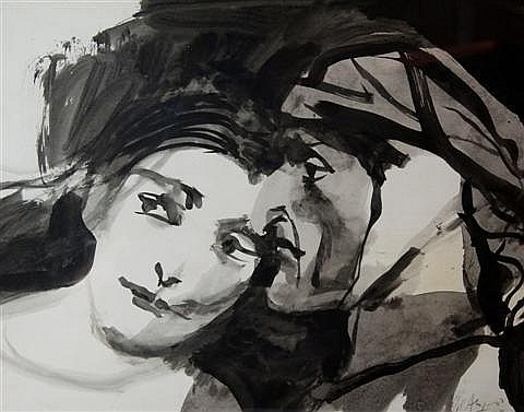 CARLOS ALONSO OTHELLO Y DESDEMONA Watercolor on paper: 22 1/4 x 29 in.