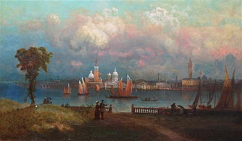 GEORGE W. KING (AMERICAN, 1836-1922) VENICE Oil on canvas: 15 x 25 in.