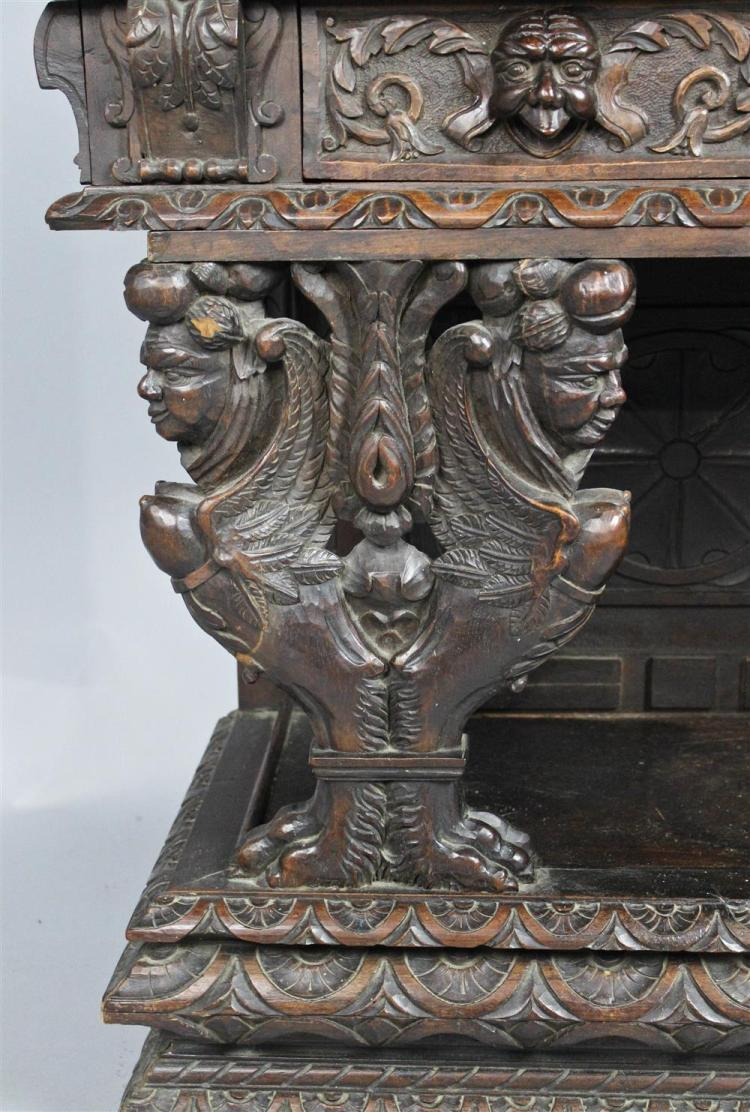 Renaissance style relief carved walnut cabinet on stand lat