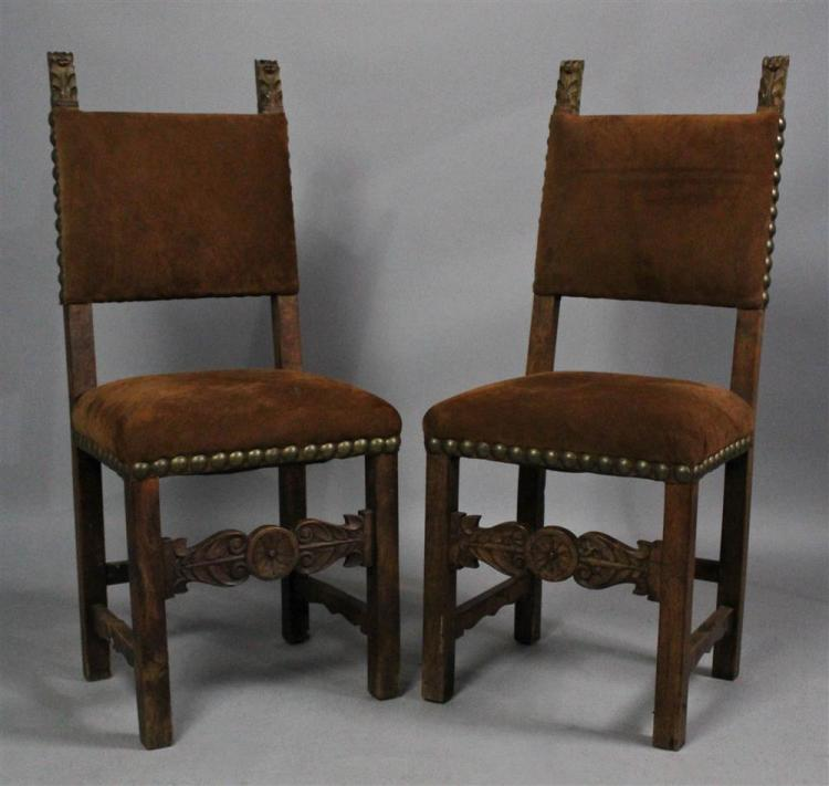 Pair of spanish baroque carved walnut side chairs for Spanish baroque furniture