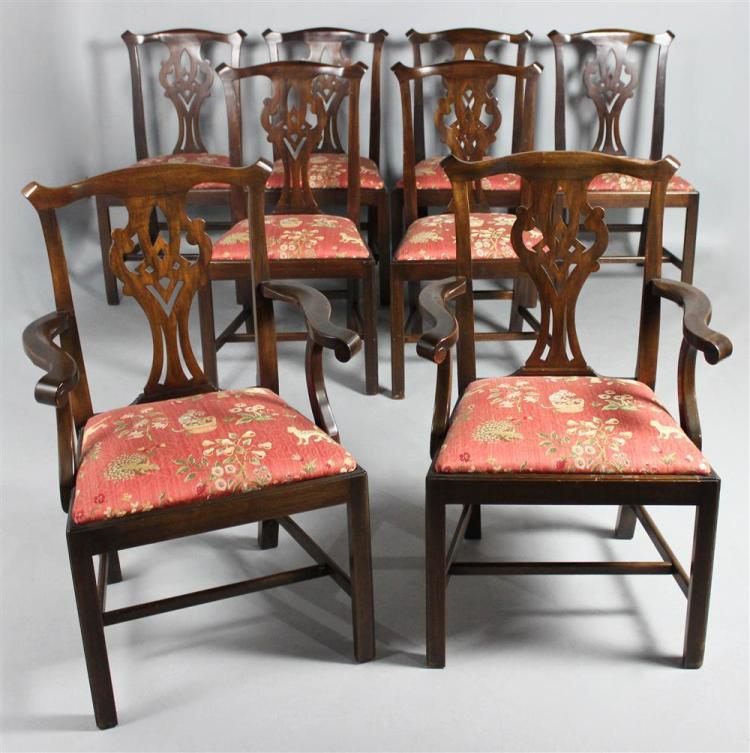 Henkel Harris Dining Room Furniture: SET OF EIGHT HENKEL HARRIS CHIPPENDALE STYLE DINING CHAIRS I