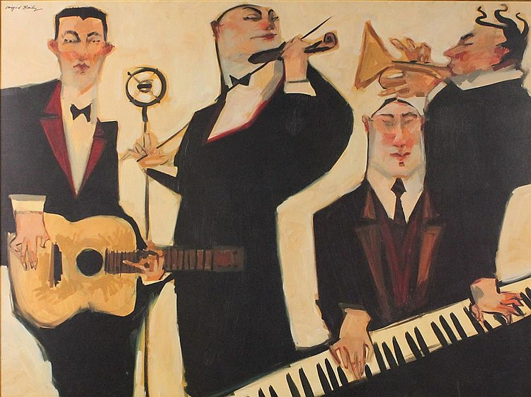 CLIFFORD BAILEY (AMERICAN, 1969-) JAZZ MUSICIANS Mixed media on panel: 23.5 x 31 in.