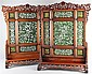 PAIR OF CHINESE HARDWOOD FRAMED SPINACH JADE TABLE SCREENS