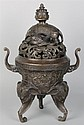 CHINESE BRONZE TRIPOD CENSER, FOUR CHARACTER QIANLONG SEAL MARK
