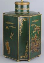 CHINOISERIE TOLE PEINTE SHAPED TEA CANISTER FITTED AS A TABLE LAMP
