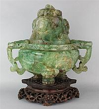 CHINESE GREEN FLUORITE BOMBE TRIPOD CENSER AND COVER
