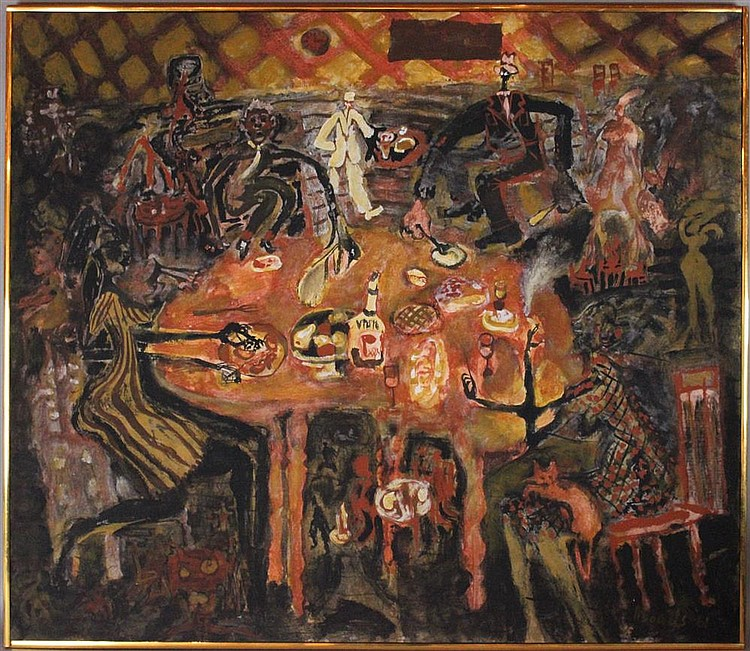 GEORGE RHOADS (AMERICAN, 1926-) UNTITLED, 1961 (MACABRE MEAL) Acrylic on canvas: 40 1/4 x 45 in.