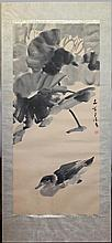 CHEN WEN HSI (SINGAPOREAN, 1906-1992) DUCK Ink and color on paper mounted: 37 x 17 in. (full paper) 47 x 21 in. (including mat)