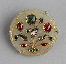 MUGHAL WHITE JADE PIN WITH BERYL, HEAT TREATED RUBY, DIAMOND AND GOLD WIRE INLAY