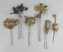 SIX CHINESE GILT-SILVER, JADE AND KINGFISHER HAIR PINS