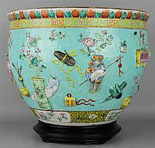 CHINESE FAMILLE ROSE MOLDED JARDINIERE, LATE 19TH C.