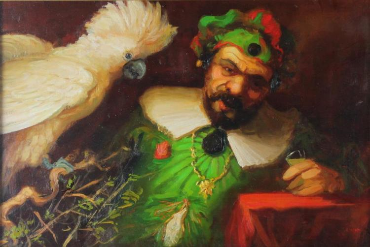 RICHARD LITHGOW (AMERICAN, 1963-) JESTER WITH BIRD Oil on paper: 12 x 18 in. (sight)