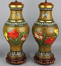PAIR OF CHINESE CLOISONNE ENAMEL VASES MOUNTED AS TABLE LAMPS