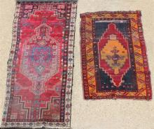 TWO TRIBAL OCTAGONAL MEDALLION WOOL RUGS