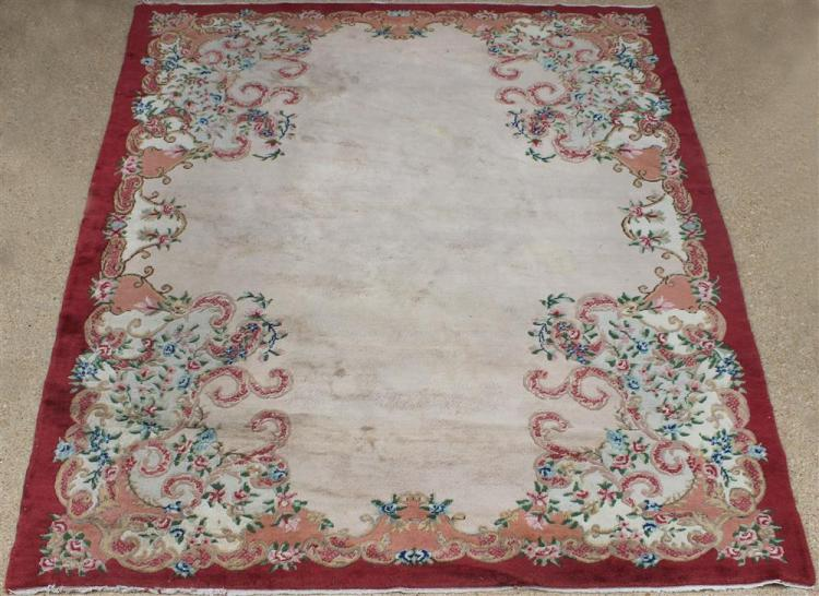Large Chinese Carved Wool Rug
