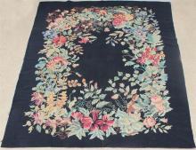 LARGE FLORAL NEEDLEPOINT WOOL RUG