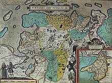 AFTER ABRAHAM ORTELIUS (FLEMISH, 1527-1598) Frisia Orientalis. [Amsterdam, c. 1606] Double-page  engraved map with later hand-colori...