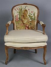 LOUIS XV STYLE BEECHWOOD FAUTEUIL WITH NEEDLEPOINT BACK DEPICTING MONKEY
