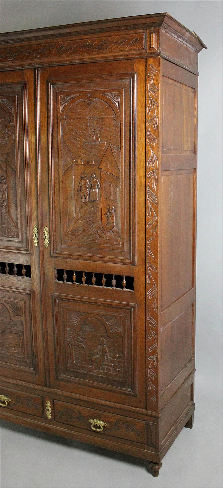 french provinicial carved oak armoire brittany. Black Bedroom Furniture Sets. Home Design Ideas