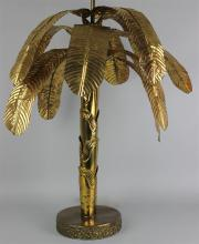 AMUSING PUNCHED BRASS PALM TREE TABLE LAMP