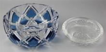 LALIQUE FROSTED AND CLEAR ''CONCARNEAU'' DISH AND A VAL ST. LAMBERT BOWL