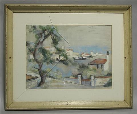 EGON ADLER (CZECH/AMERICAN 1892-1963) COASTAL VILLAGE SCENE Watercolor on paper: 15 1/2 x 20 1/2 in. (sight)