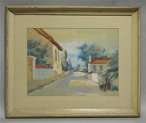 EGON ADLER (CZECH/AMERICAN 1892-1963) VILLAGE STREET SCENE Watercolor on paper: 15 1/2 x 20 1/2 in. (sight)