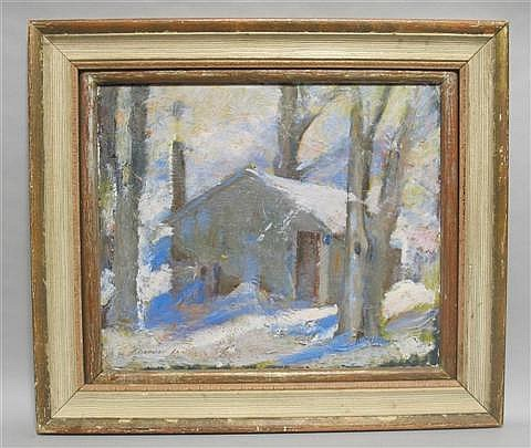 ALEXANDER ROBERTSON JAMES (AMERICAN, 1890-1946) COTTAGE IN WINTER FOREST Oil on panel: 18 x 21 in.