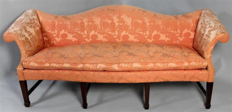 Hickory Chair Damask Camelback Sofa With Spring Down Seats