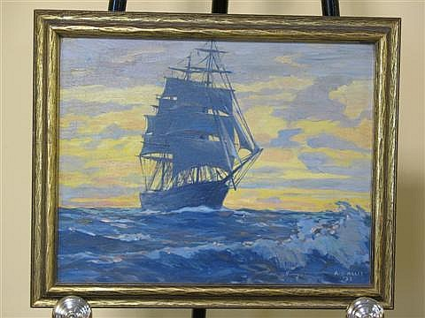 ARTHUR S. ALLIS AMERICAN, 1904-1973 TALL SHIP Oil on board: 14 x 18 in. (sight)