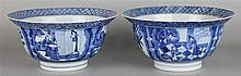 PAIR OF BLUE AND WHITE BOWLS WITH EVERTED RIMS, SIX-CHARACTER KANGXI MARKS WITHIN DOUBLE CIRCLES