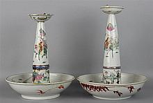 PAIR OF CHINESE FAMILLE ROSE PRICKET ALTAR STICKS