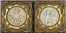 EDWARD WILLIAM WYON (BRITISH, 1811-1855), A PAIR OF CAST MARBLE ROUNDELS OF CHILDREN PLAYING