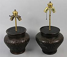 PAIR OF BRONZED-METAL VASES