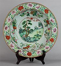 CHINESE FAMILLE ROSE BASIN WITH EVERTED RIM, LATE 19TH C.