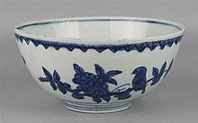 CHINESE UNDERGLAZE BLUE AND WHITE DEEP BOWL, FOUR CHARACTER APOCRYPHAL WANLI MARK