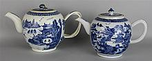 TWO CHINESE EXPORT BLUE AND WHITE TEAPOTS, EARLY 19TH C.