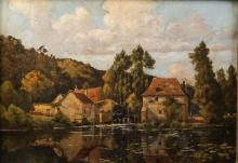 HENRI LINGUET (FRENCH, 1881-1914) MILL WITH WATERMILL AND FIGURE AT THE EDGE OF THE WATER Oil on canvas: 13 x 18 in.