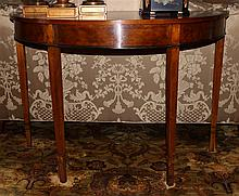 TWO SMALL TABLES INCLUDING A MAHOGANY DEMILUNE TABLE WITH INSET SUNBURST PATTERN, TOGETHER WITH AN ITALIAN STYLE OVAL LIDDED TABLE W...