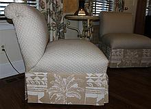 PAIR OF PALM TREE UPHOLSTERED CREAM SLIPPER CHAIRS