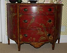 LOUIS XIV STYLE CHINOISERIE PAINTED DEMILUNE COMMODE TOGETHER WITH A MIRROR