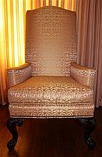 PAIR OF CENTURY CARVED ARMCHAIRS WITH SILK UPHOLSTERY