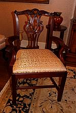TEN WRIGHT TABLE COMPANY CHIPPENDALE STYLE MAHOGANY DINING CHAIRS, INCLUDING TWO ARM
