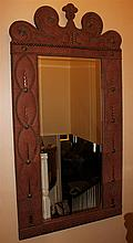 MONUMENTAL EMBOSSED LEATHER FRAMED MIRROR WITH DECORATIVE NAILHEAD TRIM