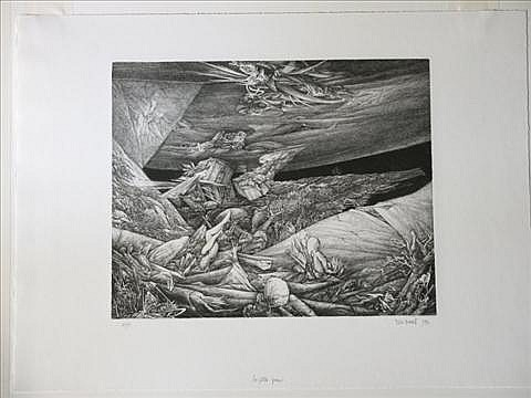 YVES DOARE FRENCH 1943 LA PETITE PEUR Engraving: 14 1/2 x 19 1/2 in.