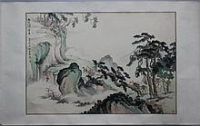 WU YONGXIANG (CHINESE, 1913-1970) LANDSCAPE Ink on paper: 20 1/2 x 30 1/2 in. (sheet)
