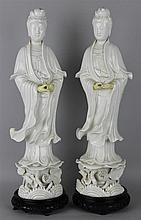 PAIR OF CHINESE BLANC-DE-CHINE FIGURES OF BEAUTIES